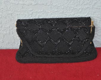 Vintage Black Bead Purse Walburg Japan