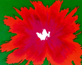 "Eye ""Poppy"" ing, Poppy, oil pastel drawing, original artwork, wall art, 9x12, bright, flowers, abstract art, red, green"