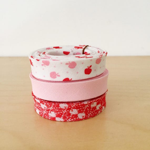 "Bias Tape 1-yard Sampler Pack 1/2"" double-fold cotton binding- 3 different designer fabrics"