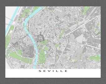 Seville Map, Seville Spain, Street Map City Art Print
