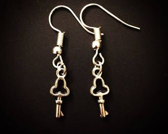 Silver Antique Skeleton Key Dangle Hook Earrings
