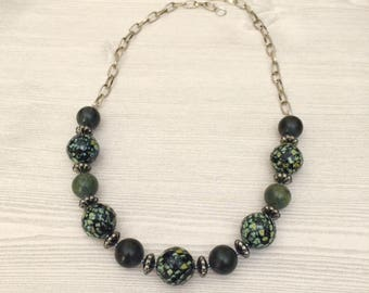 Large Bead Green Necklace Contemporary Green Stone Necklace Chunky Green Bead Necklace Czech Bead Necklace Bold Statement Necklace Gift Idea