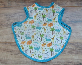 READY To Ship! Zoo Animal Bapron,Full Coverage Bib,Art Smock,Baby Toddler Apron Bib,Baby Bib, Tie On Baby Bib, Toddler Bib,Full Coverage Bib