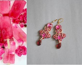 SALE -30% Juicy Fuchsia Soutache Earrings  Chandelier earrings, Dangle earrings