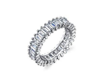 Sterling Silver Baguette Cut White CZ Eternity Band Stacked All Around Ring, Baguette eternity Band, Baguette wedding Ring