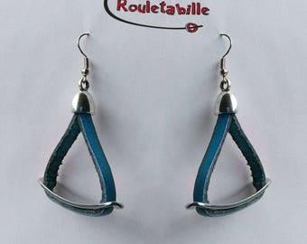Earrings, petrol blue leather silver