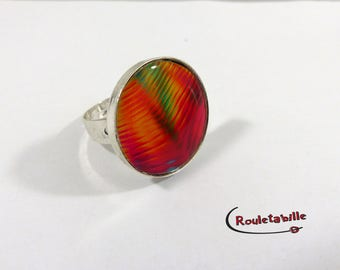 Adjustable ring, round, psychedelic, multicolor, red and orange tones (2)