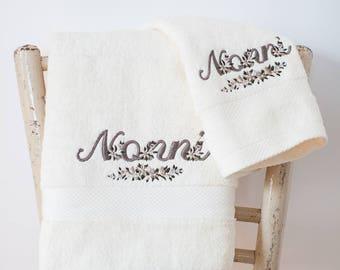 Grandparents day gift idea-embroidered towels for grandparents, Grandma and Grandpa