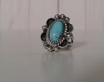 Turquoise and Sterling Silver Navajo Ring