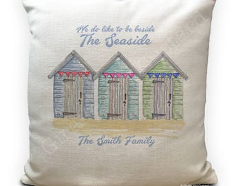Personalised Beach Hut Cushion Cover- Beside the Seaside - Family Summer Holiday Home Decor - 40cm 16 inches