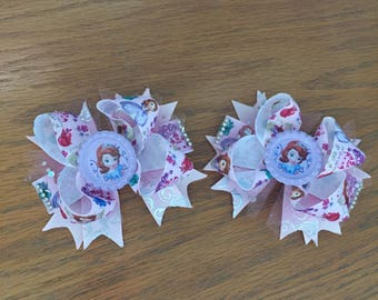 Sofia the First Pigtail Hair Bows, 4 inch with small alligator clip