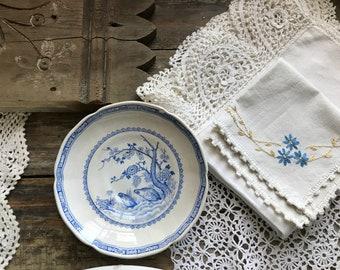 Furnivals 'Quail' England Small Saucer Blue Transferware Antique