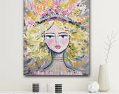 "Warrior Girl ""Eve""  Print woman art impressionist modern abstract girl paper or canvas"