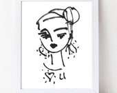 "Abstract Portrait PRINT, medium, woman portrait, Abstract Girl, ""Luv U"""