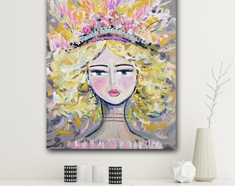 """Warrior Girl """"Eve""""  Print woman art impressionist modern abstract girl paper or canvas"""