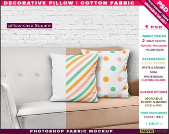 Square Decorative Pillow Cotton Fabric | Photoshop Fabric Mockup M5-S-4 | Set of 2 Cushions on White Sofa | Smart Object Custom colors