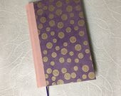 LivraisonUS  Pink clothbound Blank Journal with purple decorative cover