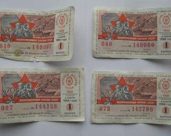 Vintage Soviet Military Lottery Tickets USSR 1988