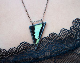 Turquoise Swallowtail Butterfly Wing Necklace
