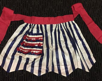 Vintage Red, White, & Blue, 4th Of July, Apron Patriotic, USA