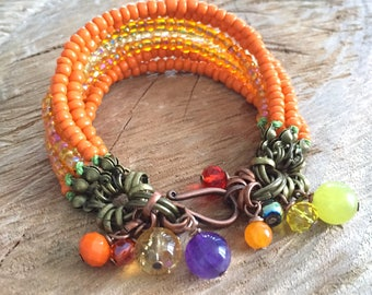 Chunky bracelet orange beaded boho bracelet, multistrand bracelet, summer layered bracelet, boho beads bracelet gypsy bracelet, gift for her