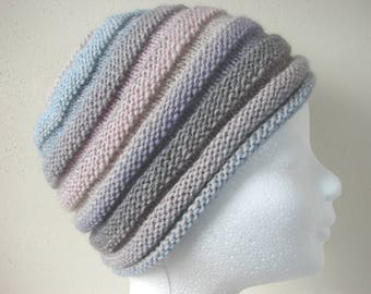 Knit beehive hat, handknit hat in soft pastel colors, beanie teen, winter hat girl knit in round wool and acrylic hat, fun knit teen hat
