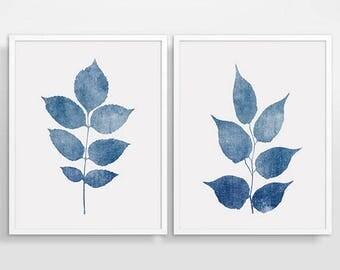 Blue Botanical Print, Blue Print Set, Printable Set Of 2, Leaves Wall Art, Set Of 2 Wall Art, Leaves Watercolor, Leaves Print Set