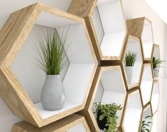Hand Painted White Oak Hexagon Shelves | Oiled Oak Honeycomb Shelves | Farrow & Ball