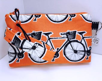 Bright Orange Wristlet, Bicycle Phone Case, Women's Small Wallet, Multi-Purpose Wristlet, HEAVILY Padded, Coupon Organizer, Zipper Pouch