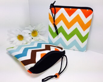 Change Purse, Coin Purses, Multicolor Chevrons Coin Purse, Cute Zipper Coin Pouch