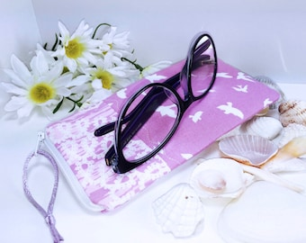 Pink Glasses Case, Flying Birds Zip Top Eyeglass Case, Zipped Sunglasses Case, Slim Glasses Case