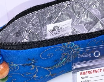 Royal Blue EpiPen Case, Insulated Diabetic Suppy Bag, Insulated Snack Pouch, Epi Pen Pouch, Travel Medical Bag