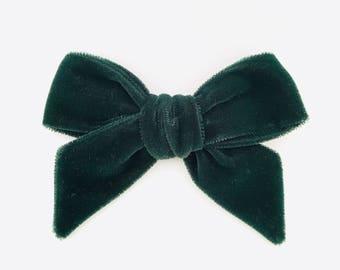 Emerald velvet oversized velvet bow