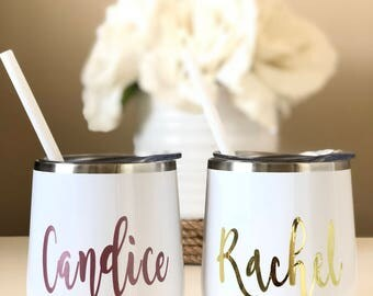 Personalized 12 oz Stainless Steel Wine Tumbler Cooler Cup with Lid and Straw, Bachelorette Bridal Wedding Gifts