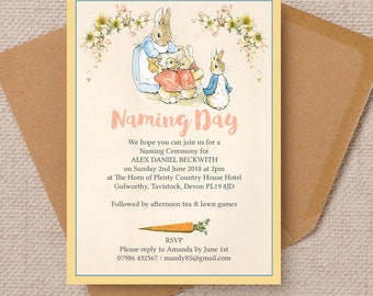 Personalised Flopsy Bunnies Beatrix Potter Naming Day Invitation Cards