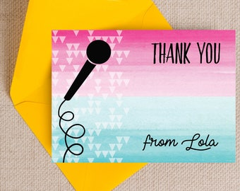 Personalised Karaoke Themed Kids Thank You Note Cards