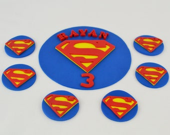 Superman Inspired fondant cake toppers set, 1 superman cake plaque and 12 superman cupcake toppers