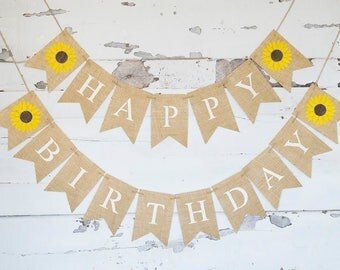 Sunflower Happy Birthday Party Decorations, Happy Birthday Banner, Summer Birthday Garland, B562