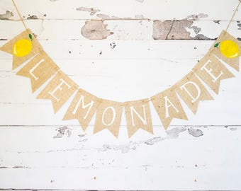 Lemonade Stand Decor, Lemonade Banner, Summer Lemonade Party Banner, Lemon Decor B611