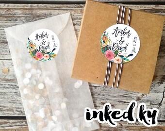 Wedding stickers custom, customized wedding, floral wedding stickers, personalized wedding stickers, stickers with names, wedding favor