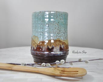 Pottery, Pottery Utensil Holder, Pottery Spoon Holder, Vase, Canister, Wheel Thrown Pottery, Kitchen, Ceramics, Pottery Spoon Holder, Gift