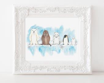 """Polar Animal Art, Polar Animal Print, Polar Bear Art, Russian Nesting Doll Art, Matryoshka Doll, Nesting Doll Print, 8""""X10"""" print"""