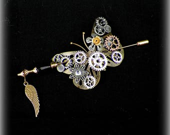 Butterfly Shawl Pin Brooch Gold Victorian Steampunk Vintage Style Blue Scarf Pin Hair Slide Edwardian Filigree Antique Inspired Stick
