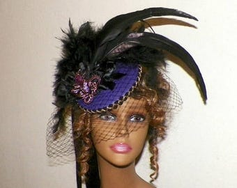 On Sale- Purple Gothic Fascinator Dragon Black Victorian Steampunk Hat Feather Gothic Lolita Headpiece Old West Costume Marie Antoinette