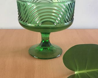 Sweet vintage E. O. Brody emerald green glass pedestal dish with Mod geometric swirl design perfect as compote / fruit bowl or candy dish!