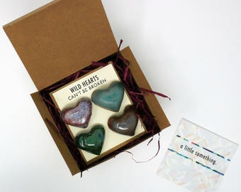 Ceramic Heart Shaped Magnets - Valentines Gift Set of 4