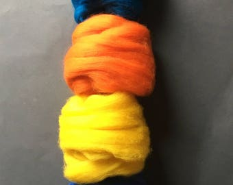 Merino Wool top roving pack - Bright colors