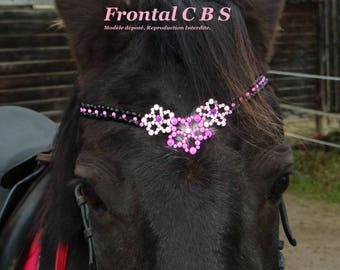 "Horse browband is custom handmade clay beads and leather ""flowers"""