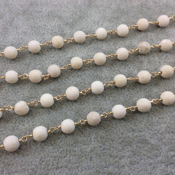 Gold Plated Copper Wrapped Rosary Chain With 6mm Matte