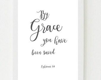 By grace   Ephesians 2:8   Digital art / Bible verse